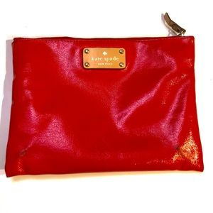 Kate Spade patent leather red clutch pouch